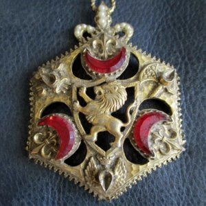 Jewelry - MEDIEVAL LION RUBY GOLD SHIELD ARMS Necklace